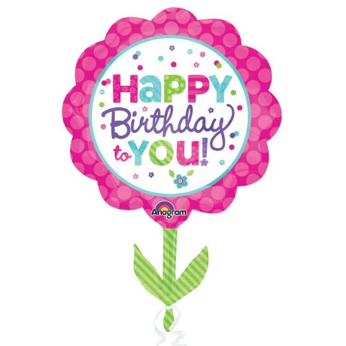 Pink & Teal Happy Birthday Foil Supershape